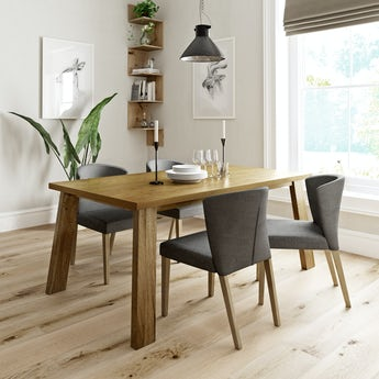 Lincoln oak dining table with 4 x Hudson grey dining chairs