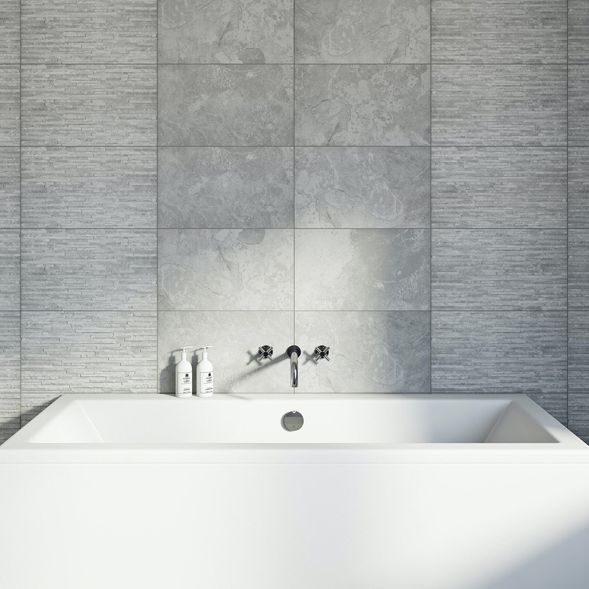 Light Grey Tiles For Bathroom: Slate Light Rib Structure Tile 298mm X 498mm