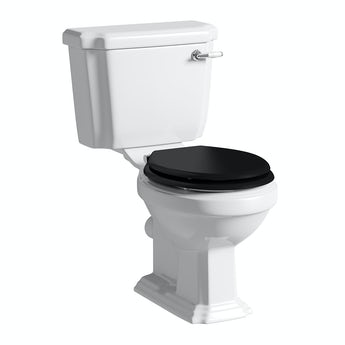 Cavendish close coupled toilet with wooden toilet seat black