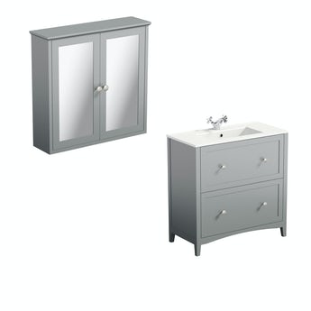 The Bath Co. Camberley grey vanity unit 800mm and mirror cabinet offer