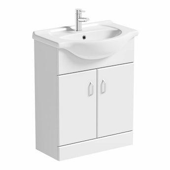 Granada white vanity unit and basin 650mm