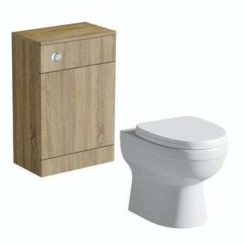 Sienna oak back to wall toilet unit with Energy back to wall toilet