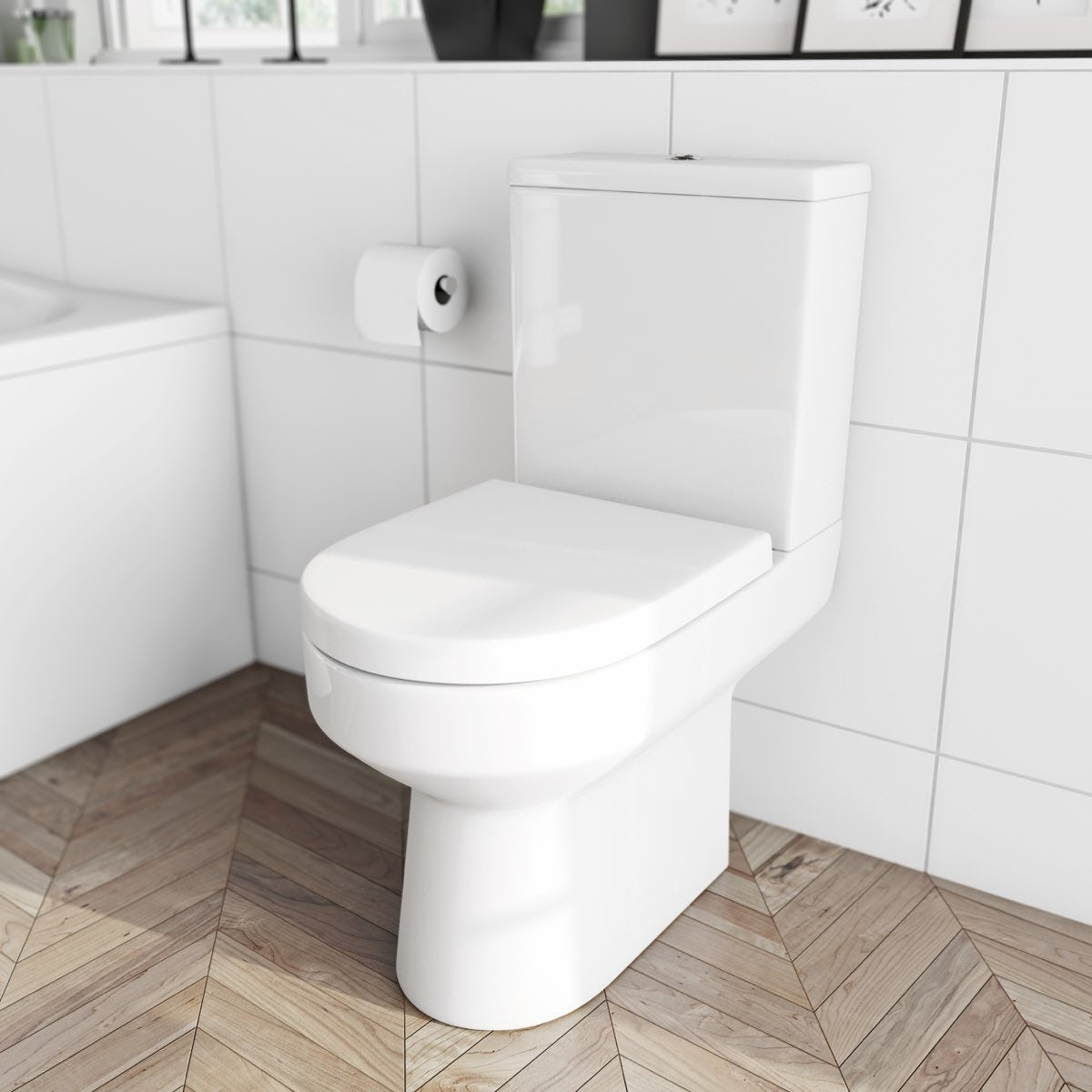 oakley close coupled toilet with soft close seat. Black Bedroom Furniture Sets. Home Design Ideas