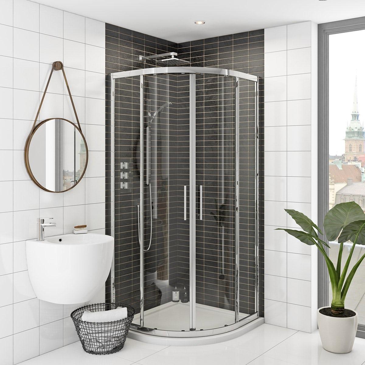 Mode rand premium 8mm easy clean quadrant shower enclosure - Small shower enclosures ...