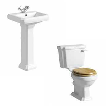 Cavendish toilet suite with oak effect seat and full pedestal basin 500mm