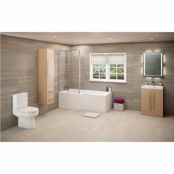 Drift sawn oak suite with left handed L shaped shower bath 1700 x 850