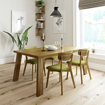 Lincoln oak dining table with 4 x Ernest green dining chairs