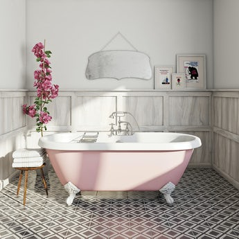 victoria rose coloured bath with tap and waste