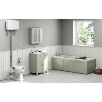 The Bath Co. Camberley sage high level furniture suite with straight bath 1700 x 700