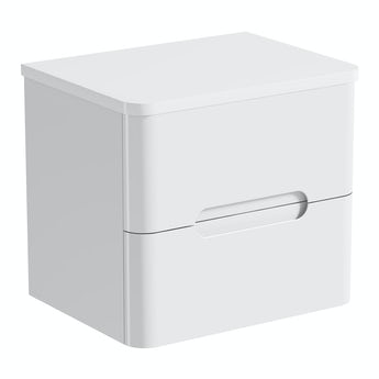 Mode Planet white wall hung vanity drawer unit and countertop 600mm
