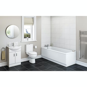Sienna white vanity bathroom set with Kensington straight bath