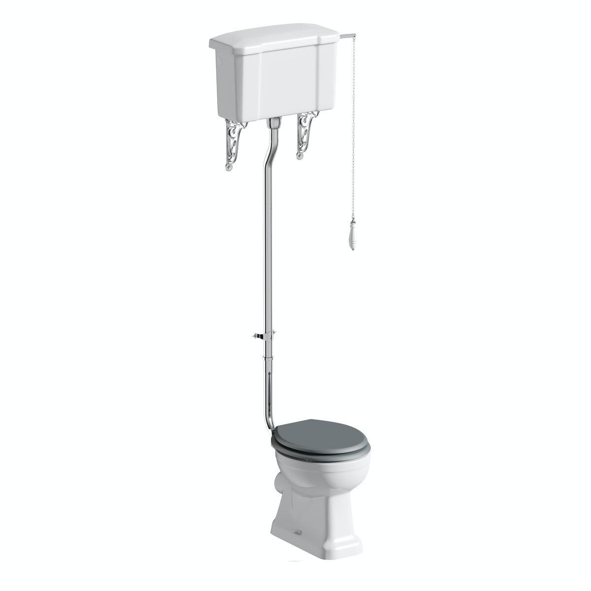 The Bath Co Camberley High Level Toilet With Grey Soft Close Seat Victoria