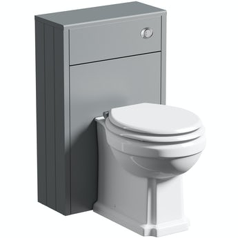 The Bath Co. Winchester grey slimline back to wall unit and toilet with white wooden seat