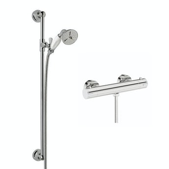 Cyclone thermostatic shower bar valve with traditional sliding shower rail kit