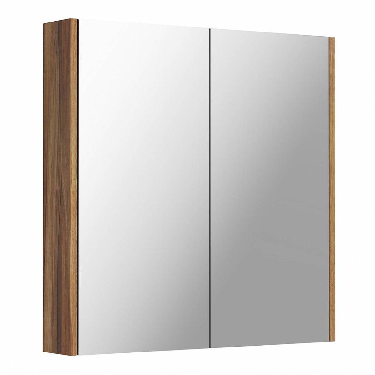Walnut 2 Door Bathroom Mirror Cabinet