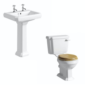 Cavendish toilet suite with oak effect seat and full pedestal basin 600mm