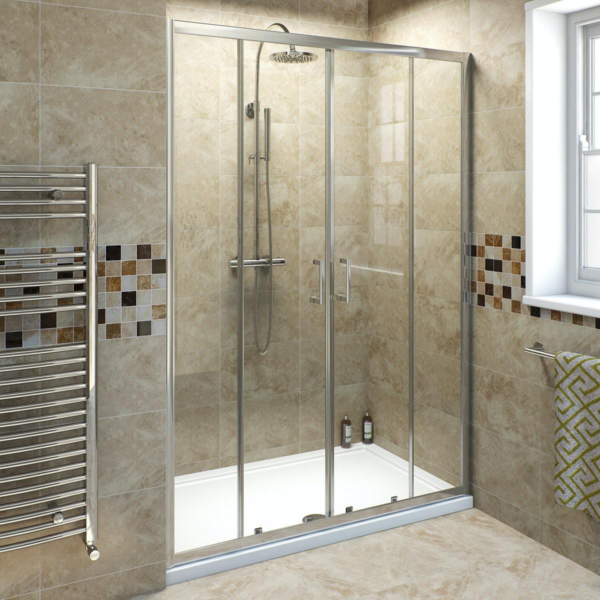 6mm double sliding shower door 1400mm for Bathroom sliding door designs