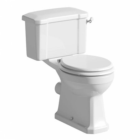 Camberley Close Coupled Toilet With Wooden Soft Close Seat White With Pan Con