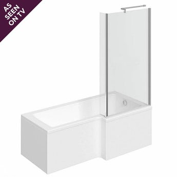 L shaped right handed shower bath 1500mm with 6mm shower bath screen