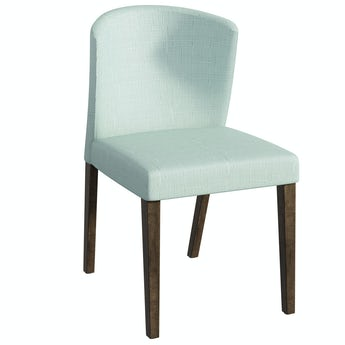 Hudson Walnut and Light Green Pair of Dining Chairs