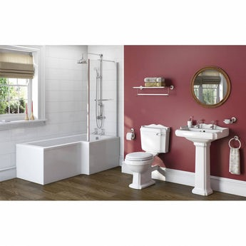 Winchester bathroom suite with right handed L shaped shower bath 1700 x 850