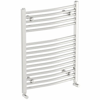 Curved heated towel rail 750 x 600 offer pack