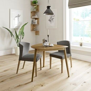 Ernest oak apartment table with 2 x Hudson grey dining chairs