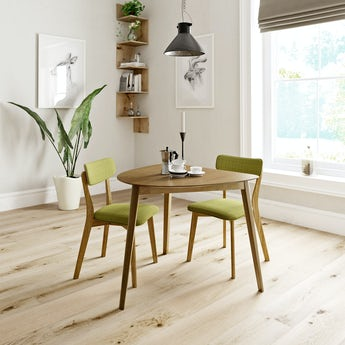 Ernest oak apartment table with 2x Ernest green dining chairs