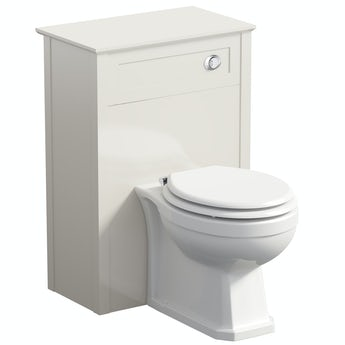 The Bath Co. Camberley ivory back to wall unit with Winchester toilet and white wooden seat