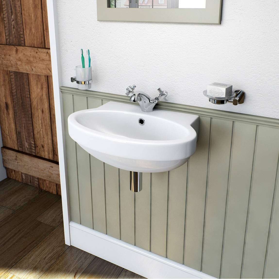 Deco 1 tap hole wall hung basin 490mm - Deco trap ...