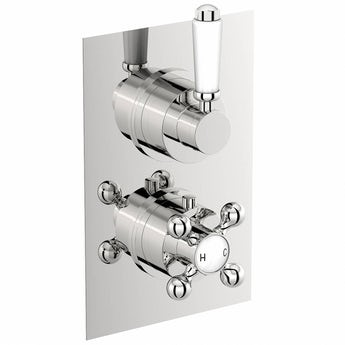 Traditional square twin thermostatic shower valve with diverter offer pack