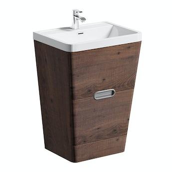 Mode Sherwood chestnut floor standing vanity unit and resin basin 600mm