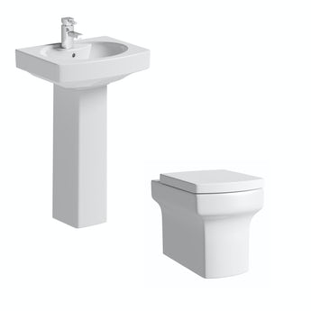 Vermont back to wall toilet suite with full pedestal basin 555mm