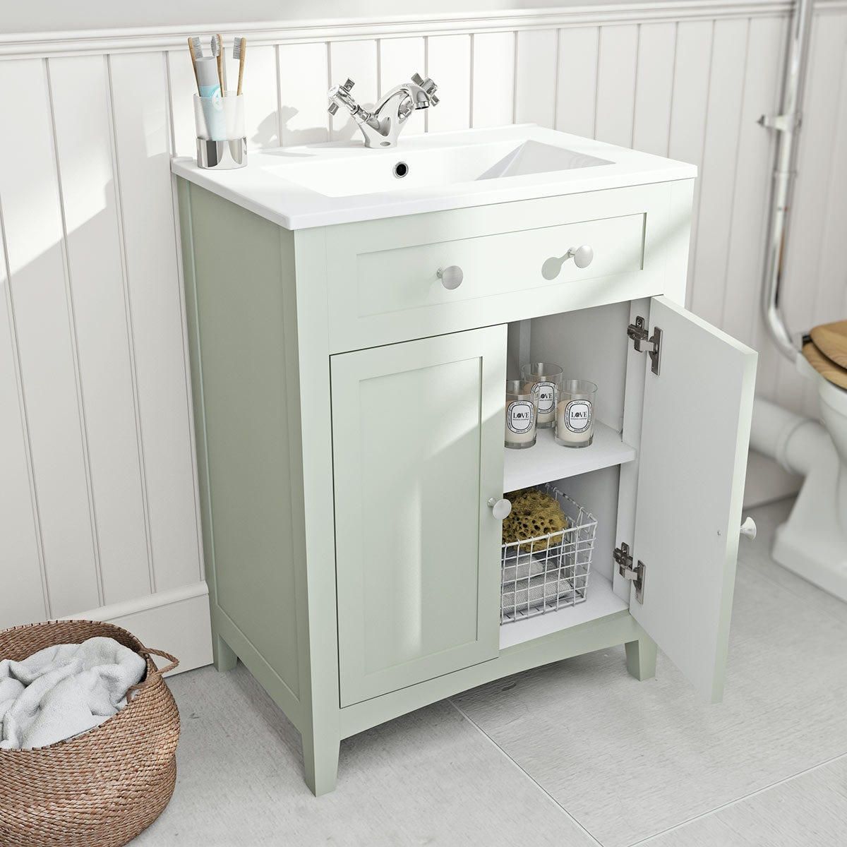 Camberley sage vanity unit with basin 600mm. The Bath Co  Camberley sage vanity unit with basin 600mm