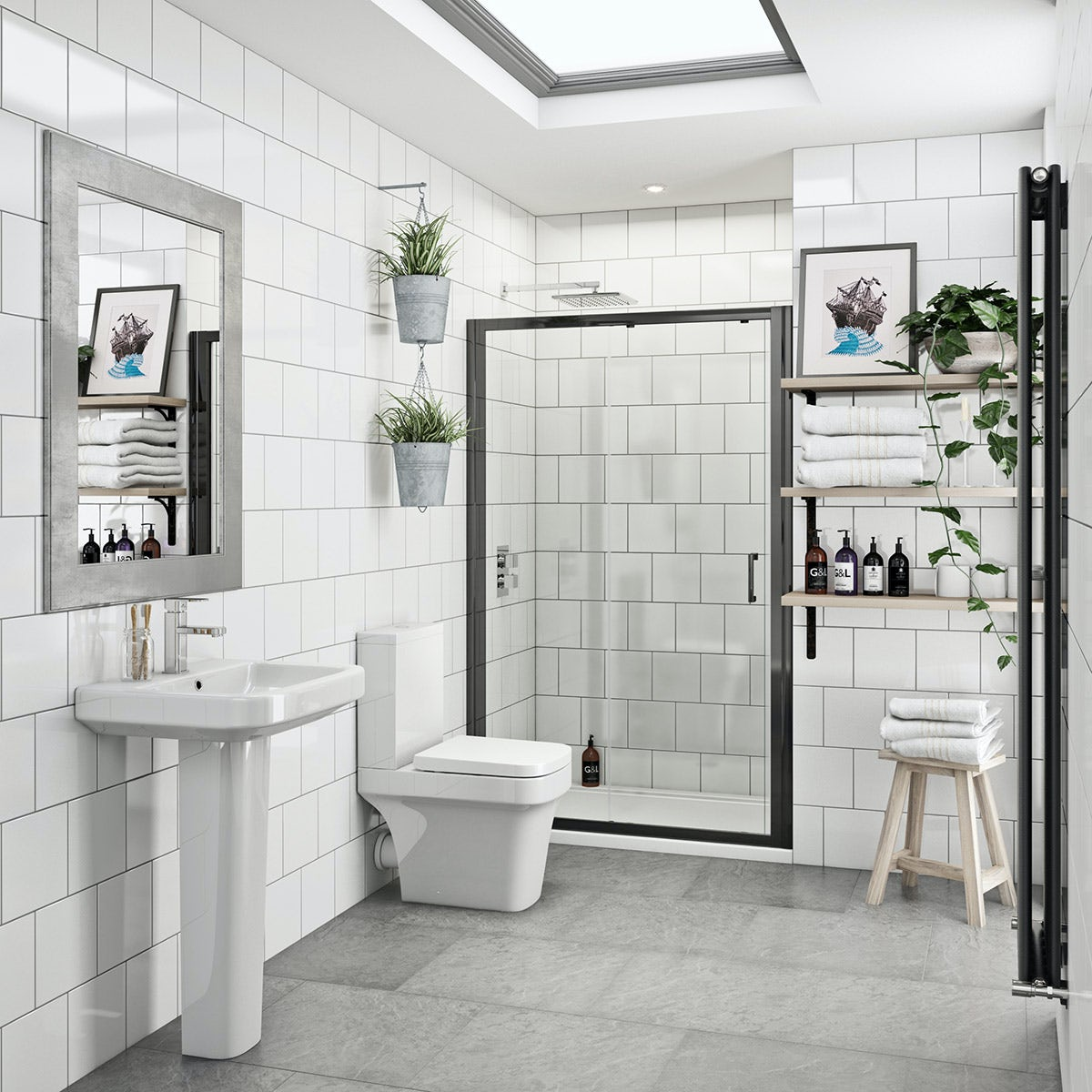 Ive Bathroom Suite With Black Shower Door Victoriaplum Com