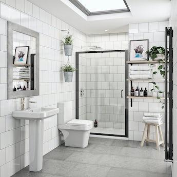 Mode Ive bathroom suite with 6mm black shower door 1200mm