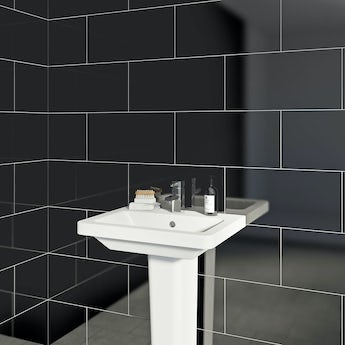 Pure black gloss tile 248mm x 498mm