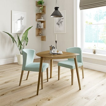 Ernest oak apartment table with 2 x Hudson light green dining chairs