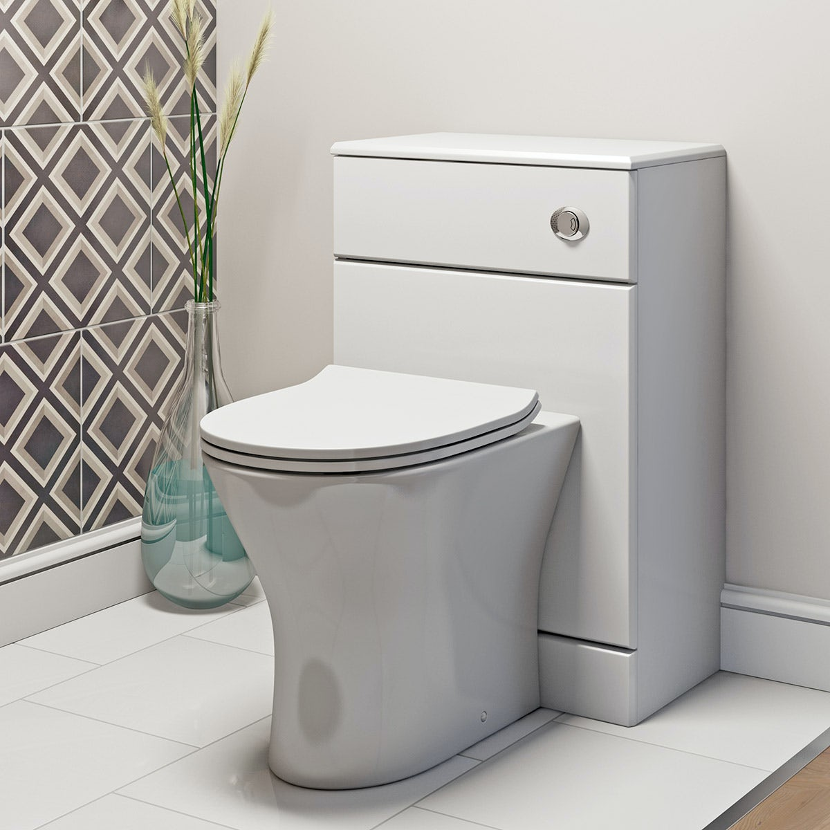 compact round back to wall toilet including soft close. Black Bedroom Furniture Sets. Home Design Ideas