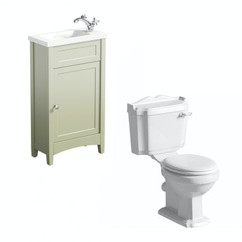 Camberley sage cloakroom unit with Winchester close coupled toilet