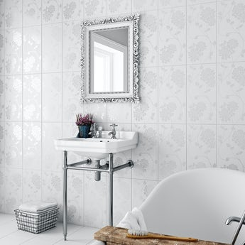 Laura Ashley Isadore white wall tile 248mm x 498mm
