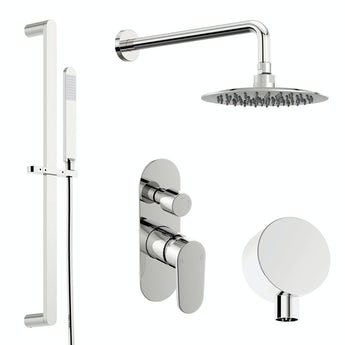 Spa round manual shower valve with diverter and slider rail wall set