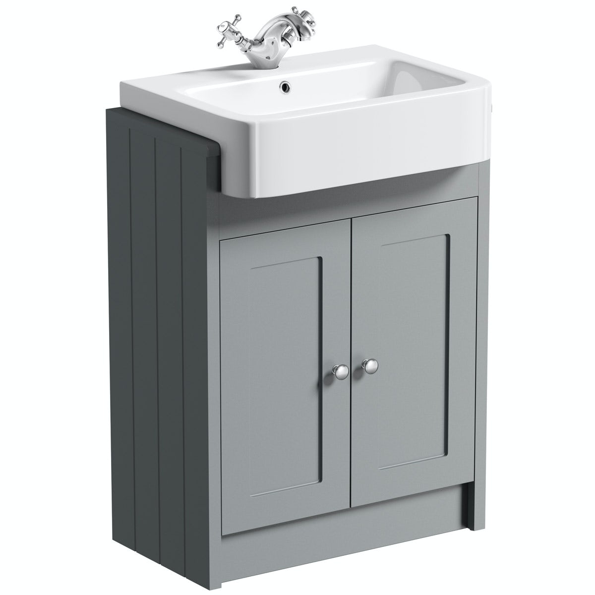 Winchester grey semi recessed vanity unit with basin for Vanity basin
