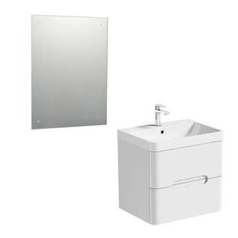 Mode Planet white wall hung vanity unit 600mm and mirror offer