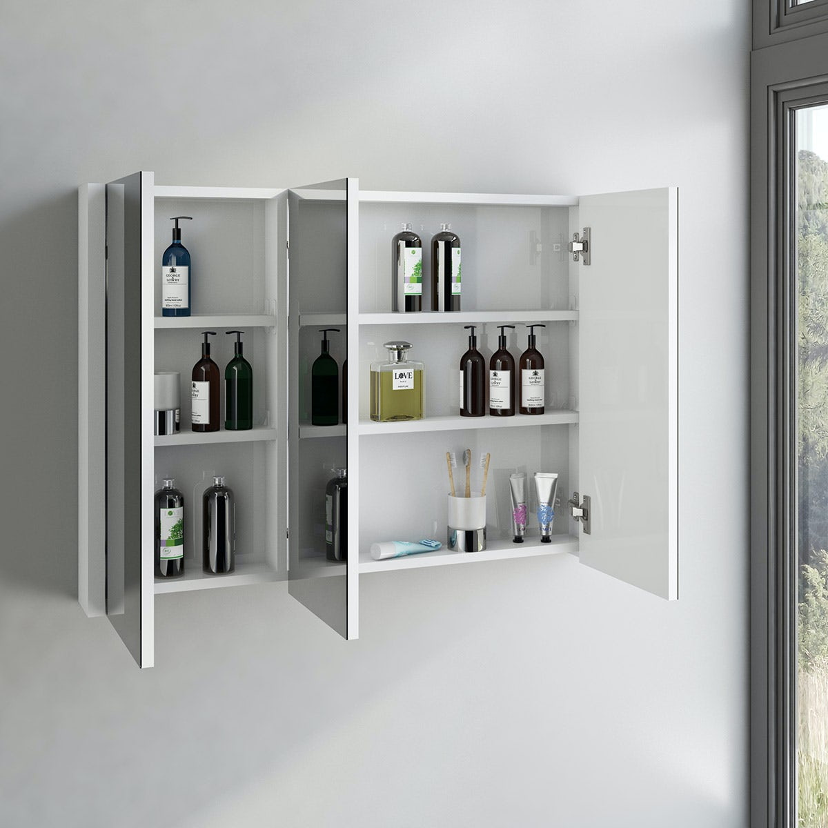 odessa white 3 door bathroom mirror cabinet