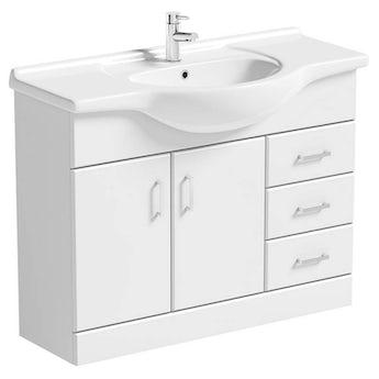 Sienna white vanity unit with basin 1050mm