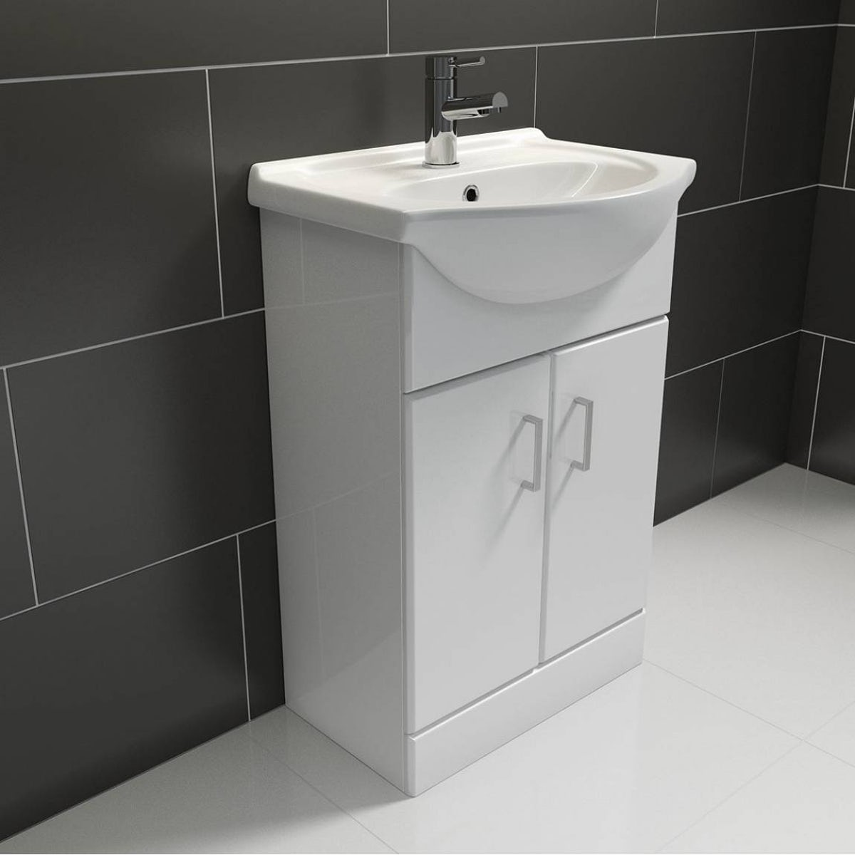 Sienna white vanity unit with basin 550mm for White bathroom unit