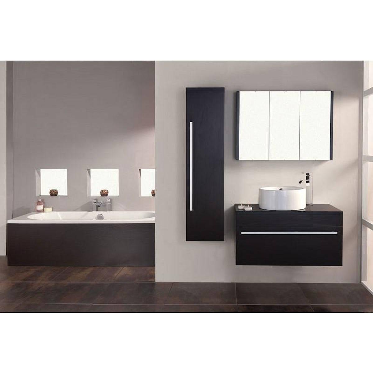 Odessa wenge 3 door bathroom mirror cabinet for Miroir wenge