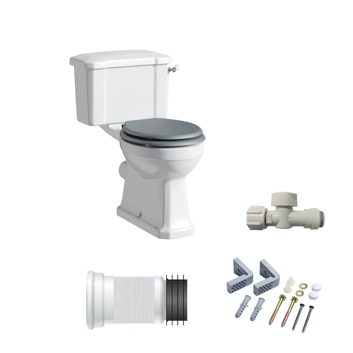 The Bath Co Camberley Close Coupled Toilet Inc Grey Soft Close Seat And Fitt