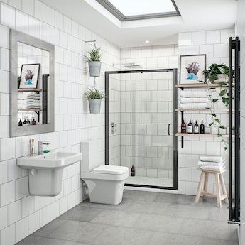 Mode Ive bathroom suite with black shower door 1200mm, tap and shower set